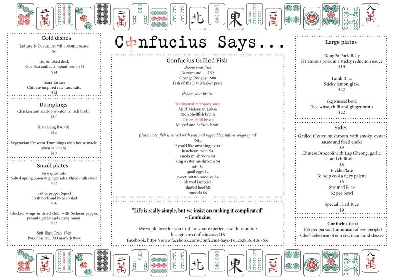 confucious menu